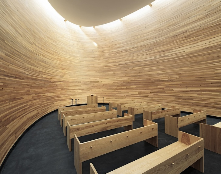 Curved Wooden Kamppi Chapel Of Silence Provides Quiet