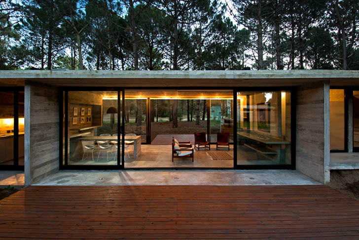 Minimalist Timber Imprinted Concrete Home In Argentina