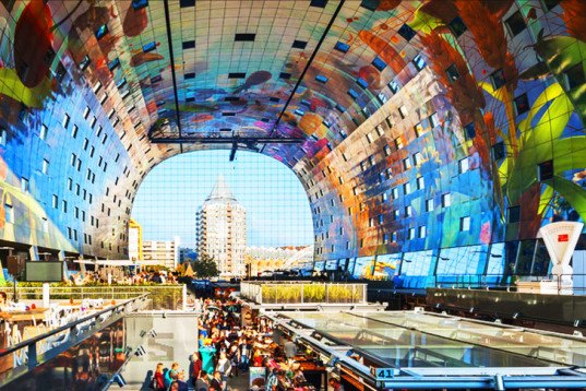 MVRDV, Rotterdam, Netherlands, Binnenrotte Square, Markthal, Markthal Rotterdam, food market, covered food market, horn of plenty art, post industrial Rotterdam, BREEAM, BREEAM Very Good certificate,