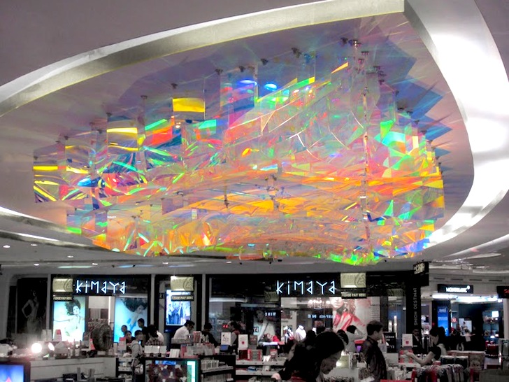 London-based architecture practice Orproject recently installed a floating multi-colored canopy of dichroic film sheets for the Delhi Duty Free area at ... & Orprojectu0027s Ethereal Dichroic Art Installation Brings the Colors ...