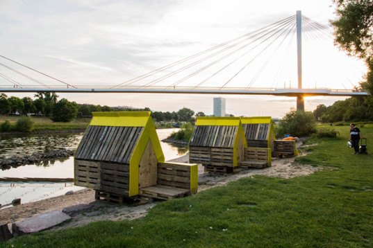 Raumlabor, temporary hotel, Mannheim, Germany, Theater der Welt festival, recycled materials, pop up hotel, low budget, resourceful accommodation