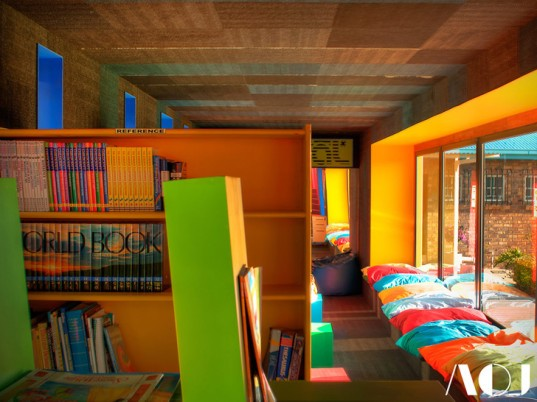 shipping containers, affordable building, LED lights, sustainable lighting, semi-permanent architecture, Architects of Justice, Johannesburg, South Africa, library, prefab