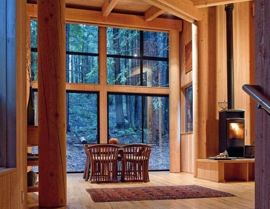 Frank / Architects, Sonoma County, redwood forest, california, sea ranch, cabin, wooden cabin, sea ranch community, filigreed screen,