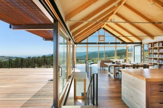 sunshine canyon house, forest fire, boulder, colorado, house, renée del gaudio architecture, mining, agriculture, gabled roof, rustic materials, exposed beams, rusted steel cladding, barn doors, photovoltaic array, closed cell foam insulation, triple pane windows, daylight, natural breezes
