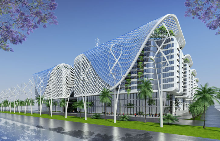 egyptian windcatchers cool vincent callebauts the gate residence inspired by coral reefs