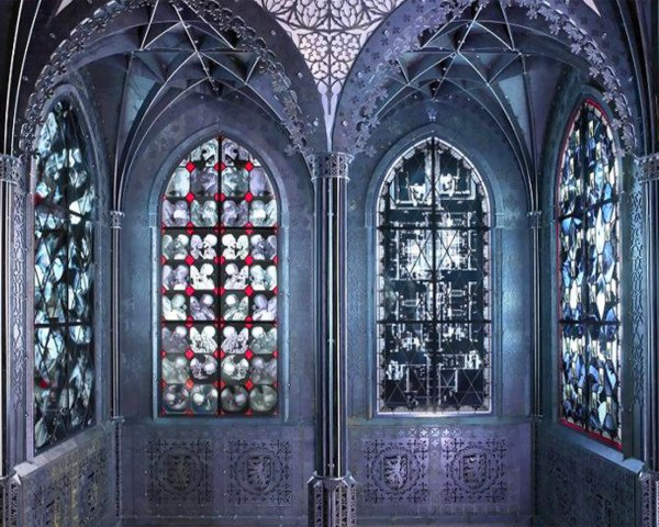green design, eco design, sustainable design, Wim Delvoye, Chapel series, stained glass, x-ray stained glass, recycled x-rays, recycled materials, Flemish Baroque, Gothic Chapel