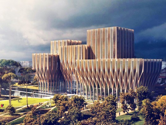 Zaha Hadid Architects, Sleuk Rith Institute, Cambodia architecture, Khmer Rouge,  institute, wooden architecture, wooden shades, facade design