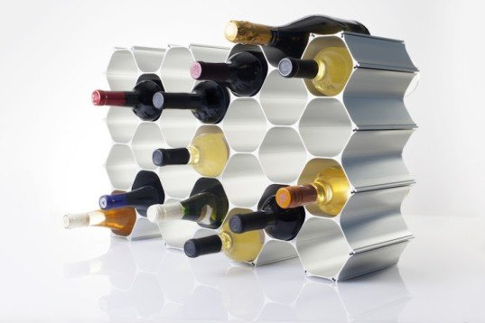 """WineHive: Modular 100% Recycled Aluminum Honeycomb Rack """"Grows"""" with Your Wine Collection"""