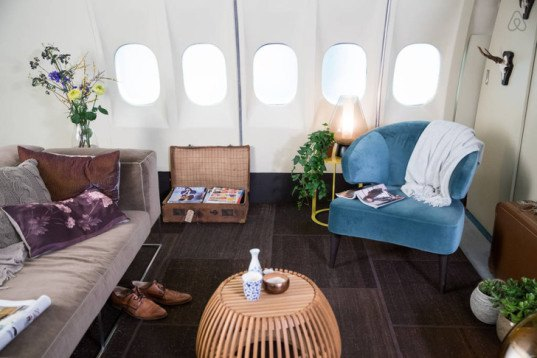 Airbnb, Airbnb hotel, pop-up hotel, airplane, converted plane, hotel, retired airplane, amsterdam airport, private movie theater, KLM airlines, nervous flyers