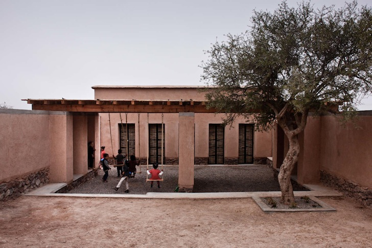 Bioclimatic Preschool Built with Rammed Earth and Mud Bricks Keeps Cool in the Moroccan Heat