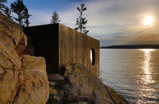 Grotto Sauna, PARTISANS, Toronto, San Souci Island, sauna, Leica 3D scanner, insulation, energy efficient sauna, Lake Huron, cedar, doubled glazed glass, triple glazed glass, energy efficient architecture
