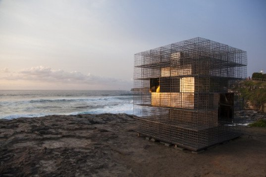 NEON, Art installation, Australia, House of Mirrors, Gabion cages, gabion cage structure, Sculpture by the Sea, Sculpture by the sea bondi, tamarama, bondi beach, Andrea Stretton Memorial Invitation mirrored finish steel