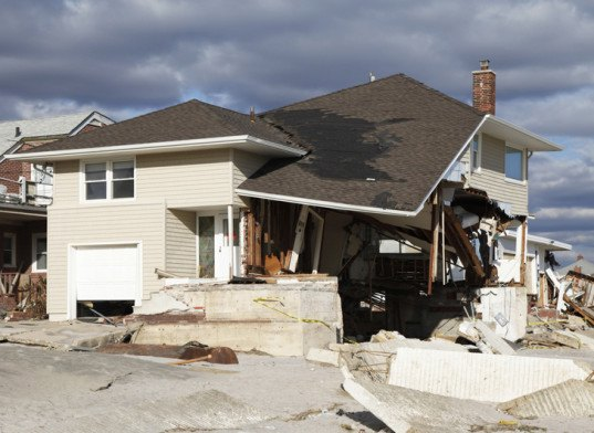Hurricane-Damaged House