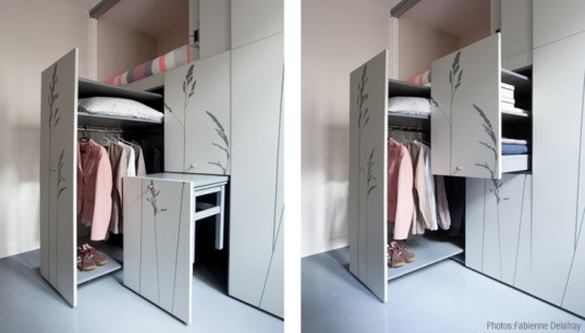 kikoto, french architects, small space living, small apartments, tiny spaces, swiss army knife, paris, transformable furniture, modular furniture, space-saving design