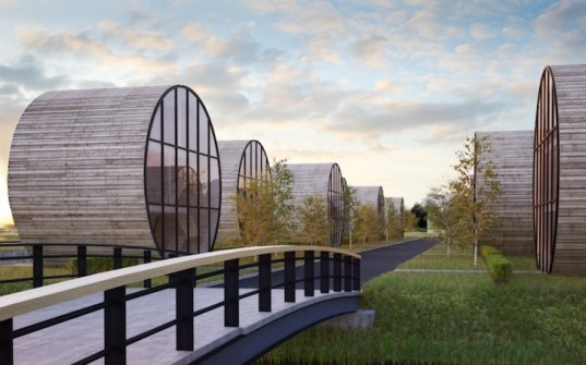 lithuania, DO architects, Svencelé, Rolling Homes, cylinder homes, barrel shaped home, tubular home, canals, Curonian Lagoon