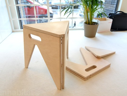 Slim Folding Stool, Arbijt, folding stool, transforming furniture, design for small space, folding chair, green design, sustainable design, green interiors, sustainable interiors, green products, sustainable products, ventura interieur, biennale interieur