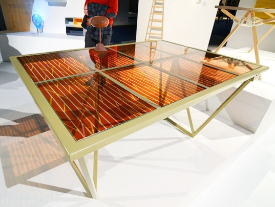 Solar Table, current table, marjan van aubel, solar powered table, photovoltaic table, green design, sustainable design, green furniture, eco furniture, green products, green interiors, sustainable interiors, Biennale Interieur, Biennale Interieur 2014, Belgium, Kortrijk