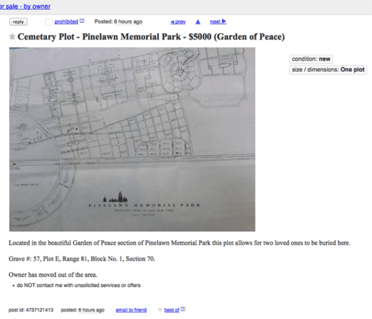 Craigslist New York Apartments: Craigslist New York Advertising Secondhand Burial Plots