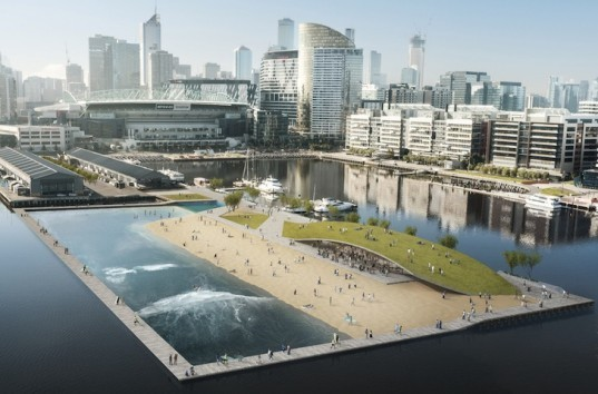 Melbourne, floating pool, floating surf park, surf park docklands, australia, boardwalk, saltwater pool, filtered water, Damian Rogers, Damian Rogers Architecture, Arup, Victoria Harbor, wave pool, surf pool, green roof