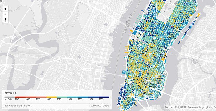 Interactive Map Of Manhattan.Urban Layers Interactive Map Reveals The Age Of Every Building In