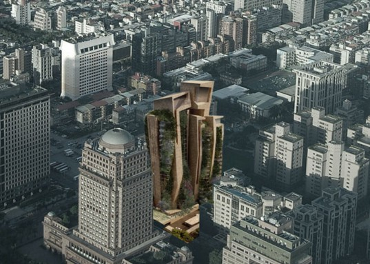 Fernando Menis, Menis Architects, Taipei, Taiwan, residential tower, vertical garden, green tower, green architecture, Agora Garden, architecture competition, volcanic stone