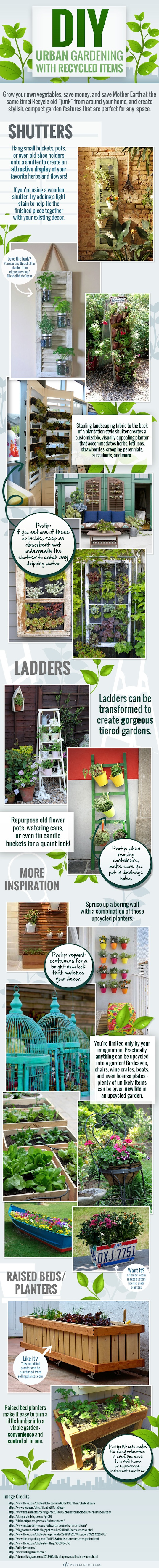 DIY, reader submitted content, infographic, Purely Shutters, urban gardening, upcycled, recycled, upcycled materials, gardening