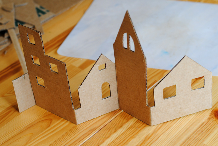 Diy Craft An Adorable Christmas Village From Recycled Cardboard