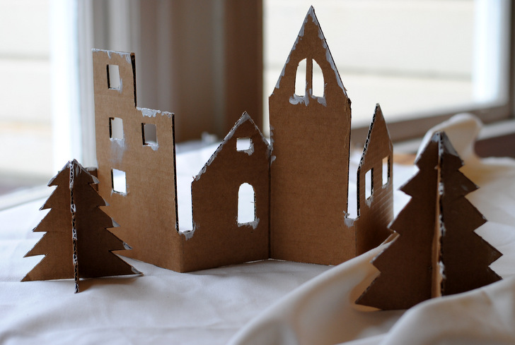 diy  craft an adorable christmas village from recycled