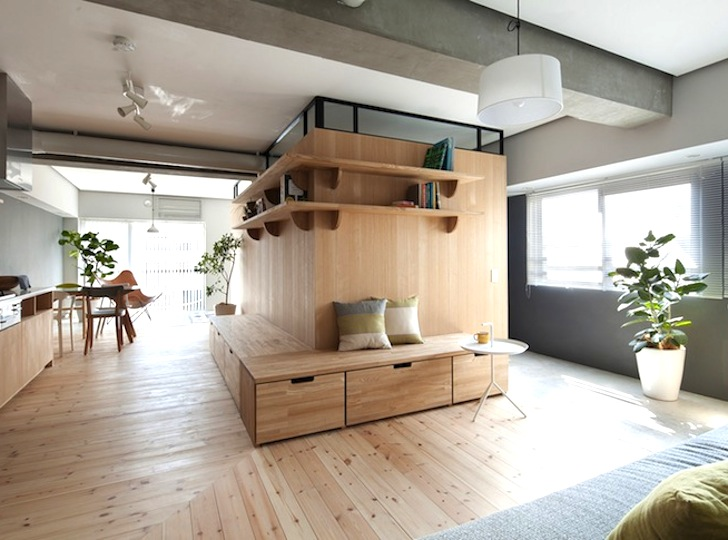 small apartment building design. Sinato cleverly adds an L shaped wood partition to expand a small apartment  in Japan Inhabitat Green Design Innovation Architecture Building