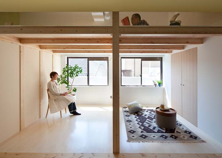 Japanese Apartment Design sinato adds space for three and a mezzanine reading room to