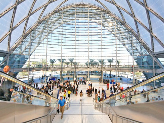 HOK Architects, ARTIC transit hub, transit hub, transportation hub, high-speed rail, California high-speed rail, California rail, green infrastructure, Anaheim transportation, Southern California, ETFE, natural ventilation, reduced solar heat gain, vaulted structure