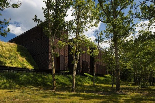 Mont-de-Marsan, Marjan Hessamfar, Joe Vérons, France, forest, wood-clad building, locally sourced wood, timber building, timber volumes, natural light, cantilever, artificial turf, artificial grass