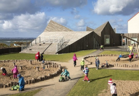 Øresund, Dorte Mandrup Arkitekter, zigzag roofline, Sweden, dune landscape, Råå, Råå Day Care Center, Day Care Center, seaside, timber building, timber clad building, gable roof, kindergarten,