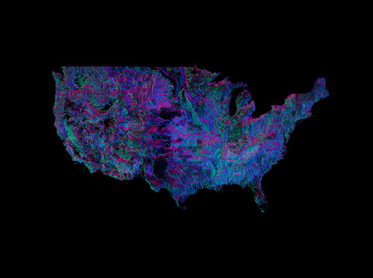 Andrew Hill Created This Mind Blowing Map Of The Rivers Of The Continental United States Colored According To The Direction In Which They Flow