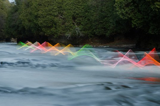 Stephen Orlando, kayakers' motions, photography in motion, LED lights, Canadian artist, long exposure photography