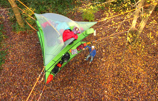 camping, suspended camping, eco-travel, eco camping, Tentsile, Tentsile tents, Tentsile Vista, Vista tent, multi level tent, tree tent, suspended tent, suspended tree tent, hammock tent, multi story tent, three layer tent, open roof tent, tent innovations,