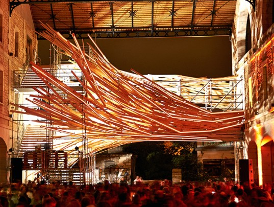 1024 Architecture, vortex sculpture, vortex, wooden sculpture, Bordeaux, France, Darwin Project, green building, green renovation, interactive art, interactive installation, footbridge, LED lights, realtime data