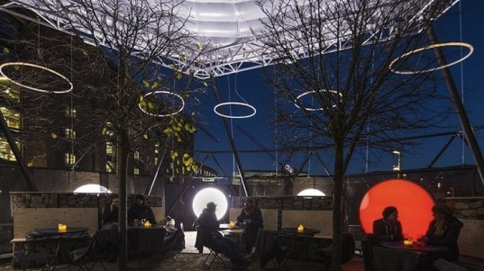 James Bowthorpe, Kim Coleman, Andrew Lock, Winter Sun, art installation, London, King's Cross, Granary Square, art, public space, public gathering space, temporary installation, temporary art installation, sensory piece, circular structure, locally sourced ingredients, open air bar