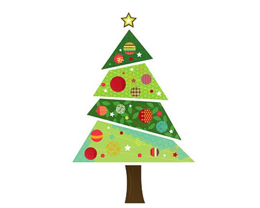 Faux christmas tree, fabric christmas tree, fabric tree, tree sticker, tree decal