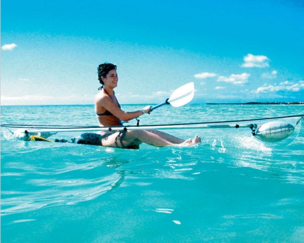 watercraft, boat, canoe, kayak, transparent, clear, see-through, ocean, river, recreation, fun, unique products, gifts