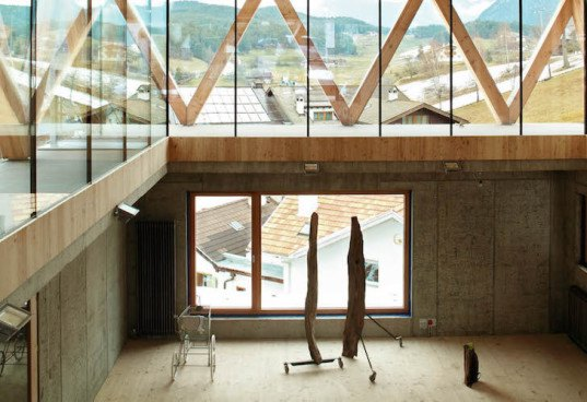 mountain-like architecture, modus architecture, Hubert Kostner, Italy, Italian architecture, timber volume, timber architecture, cross-laminated timber, light-frame timber building system, natural light, spiral staircase, atelier, north facing light