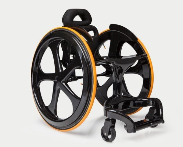 medical, medical equipment, wheelchair, paralyzed, paralysis, design, carbon fiber, engineering, custom devices, medical devices, black, sleek, modern, minimalist, lightweight