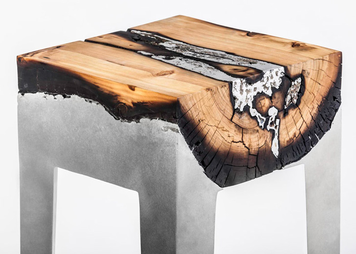 Cast Aluminum And Tree Trunk Furniture By Hilla Sharnia