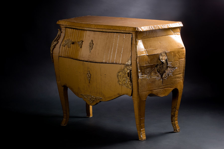 furniture from recycled materials. this beautiful furniture by emilie mazeaulanglais is actually made from cardboard recycled materials m