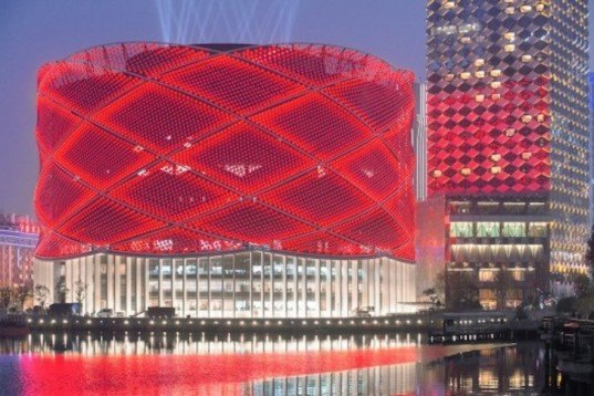 Led Studded Han Show Theater Lights Up Like A Traditional Chinese Paper Lantern In Wuhan