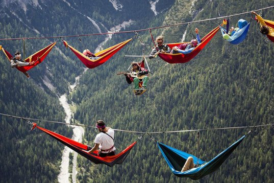 slackers, suspended hammocks, Highline Meeting festival, Italian Alps, Monte Piana,