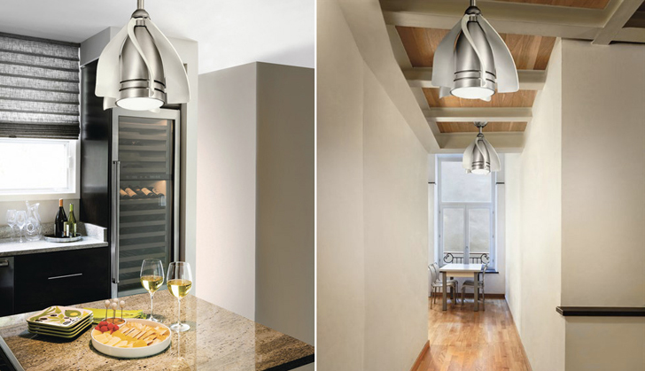 Kichler Pendant Lamp Doubles As A Fan For Confined Spaces - Kitchen light and fan