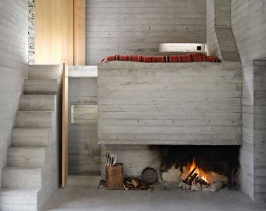 Linescio, Linescio house, Buchner Bründler Architekten, Switzerland, house within a house, house inside a house, minimalist, summer home, holiday home, concrete, fireplace, natural cooling, renovation