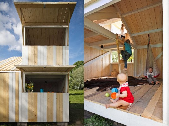 patina, Anna Bach, Eugeni Bach, Bach architects, Anna and Eugeni Bach, Finland, Finnish construction, Finnish barn, children playhouse, playhouse, modular architecture, modules, modular playhouse, double height room, window hatches, traditional construction techniques, spruce, locally sourced spruce,