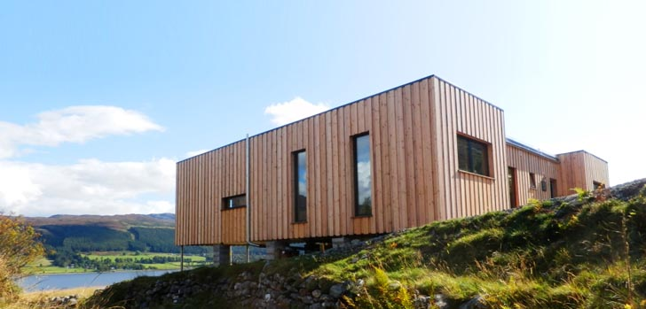 Modern Portable Homes sealoch house is a cozy prefab home in the scottish highlands